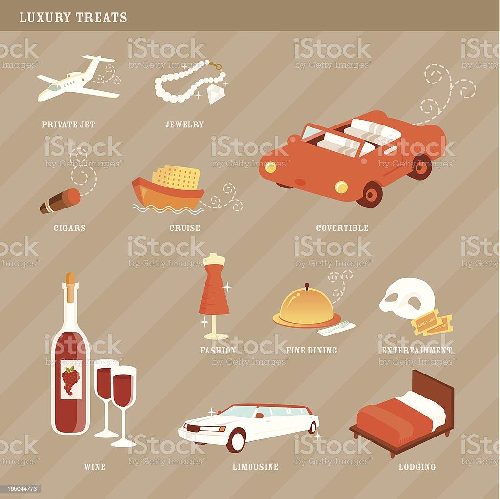Luxuries Treats Icons vector art illustration