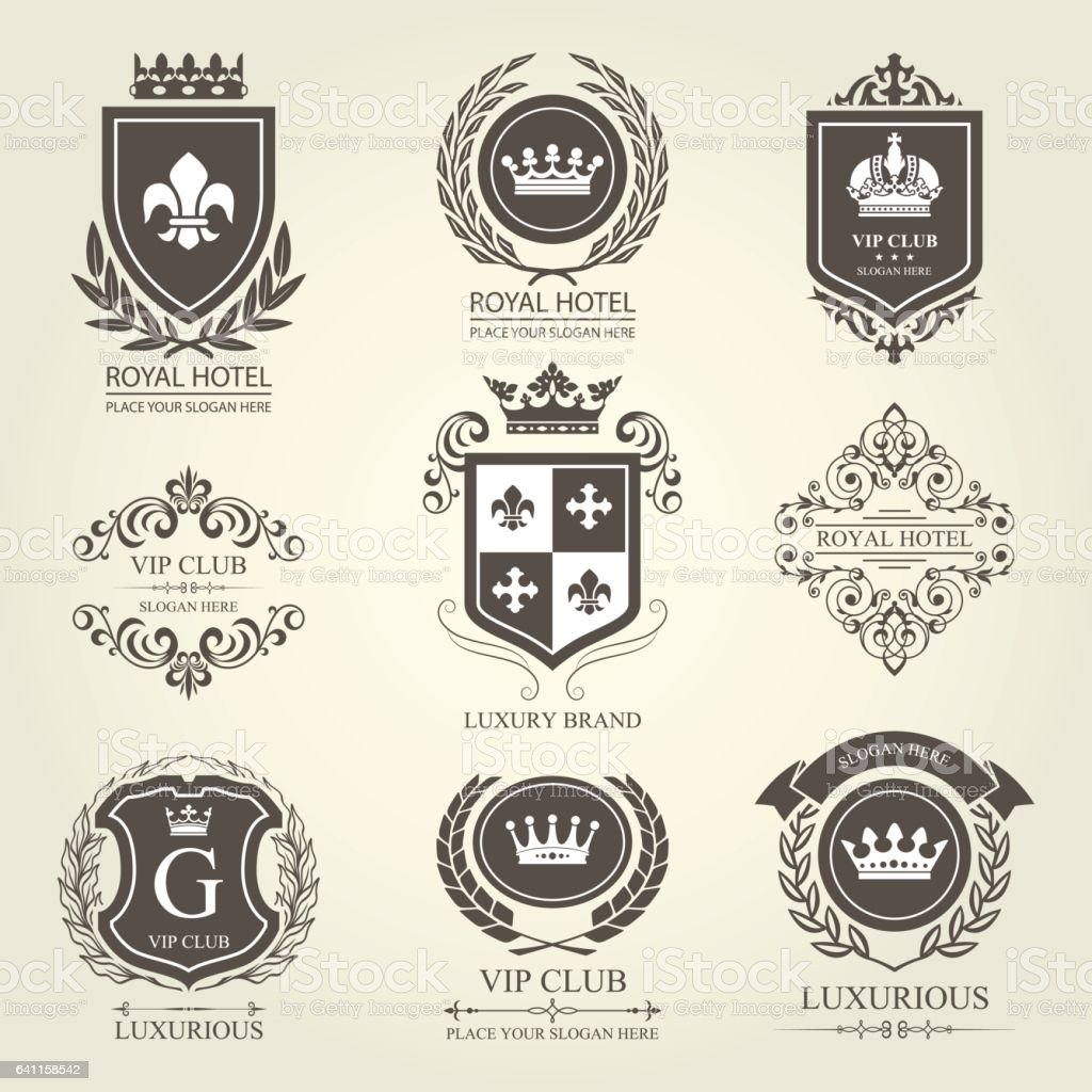Luxurious heraldic emblems and badges with shields and crowns vector art illustration