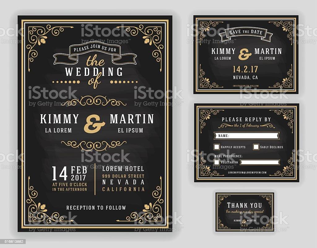 Luxurious wedding invitation vector art illustration
