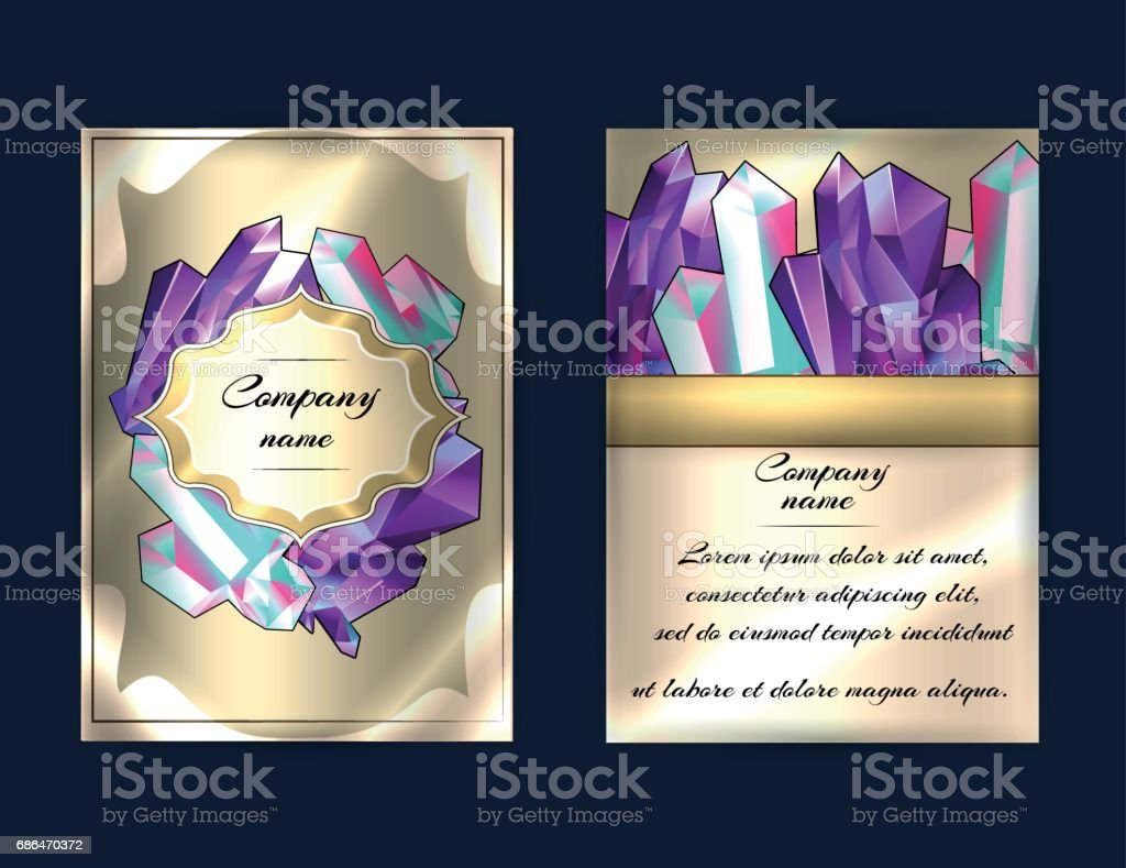 Luxury cards design with beautiful minerals, gemstones, crystals. Flyer concept for healing master, magic salon, fashion industry, jewelry shop. vector art illustration