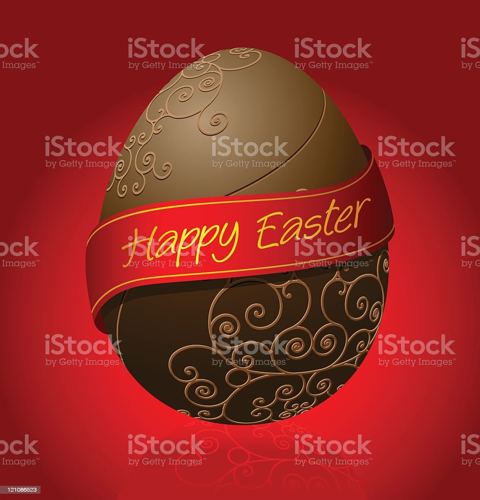 Luxury Chocolate egg with ribbon vector art illustration