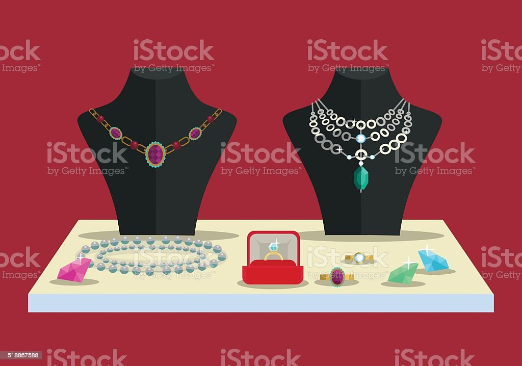 Luxury concept. Accessories diamonds. Vector flat illustration vector art illustration