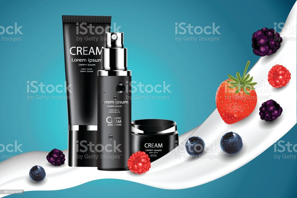 Luxury cosmetic Bottle package skin care cream, Beauty cosmetic product poster, Concept Mix berry fruit vector art illustration