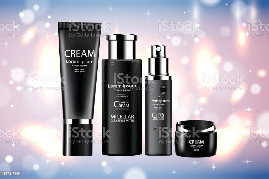 Luxury cosmetic Bottle package skin care cream, Beauty cosmetic product poster, with Bokeh background vector art illustration