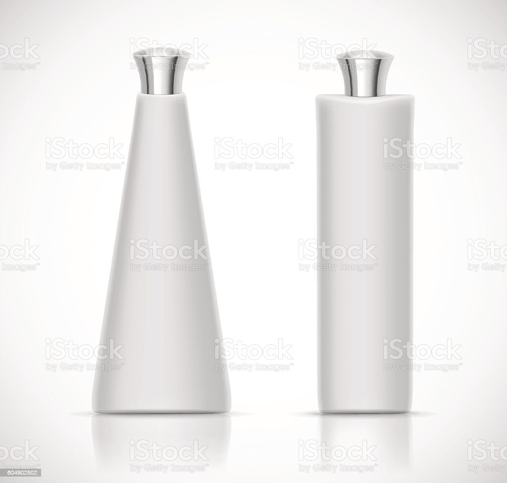 Luxury cosmetic packaging with silver cap and blank space vector art illustration