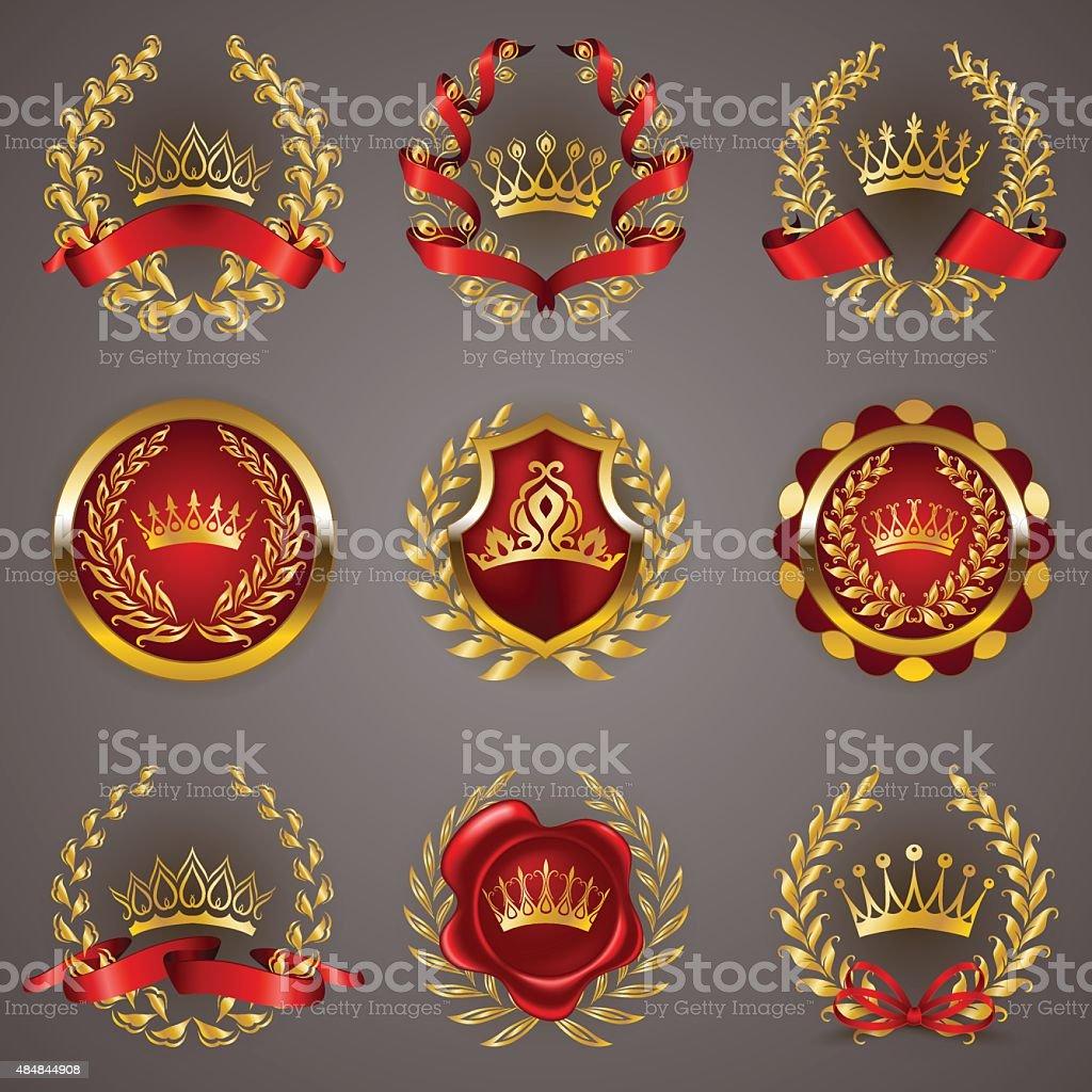 Luxury gold labels with laurel wreath vector art illustration