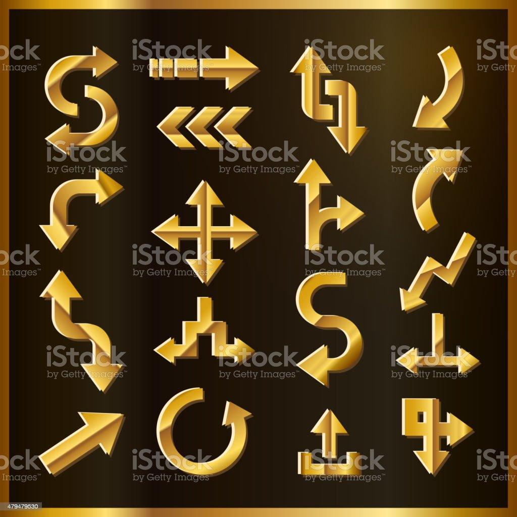 luxury golden arrows set vector art illustration