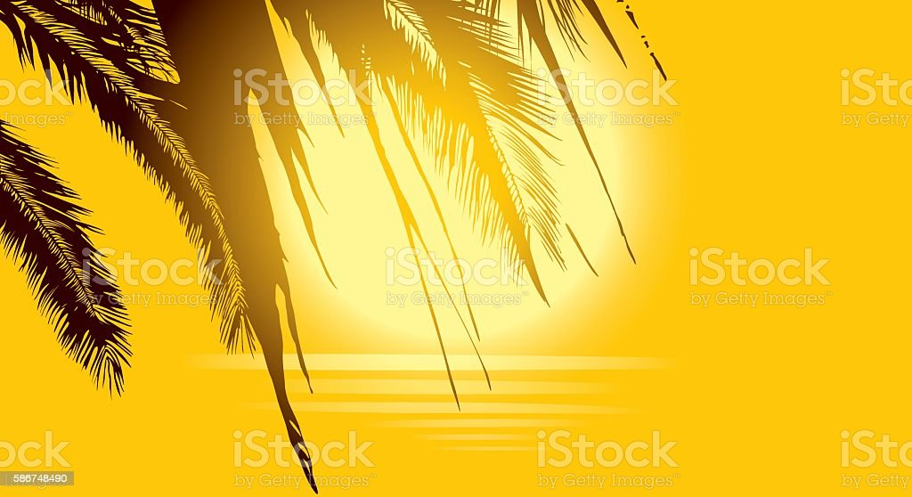 Luxury golden background with palm trees, sun and sea vector art illustration