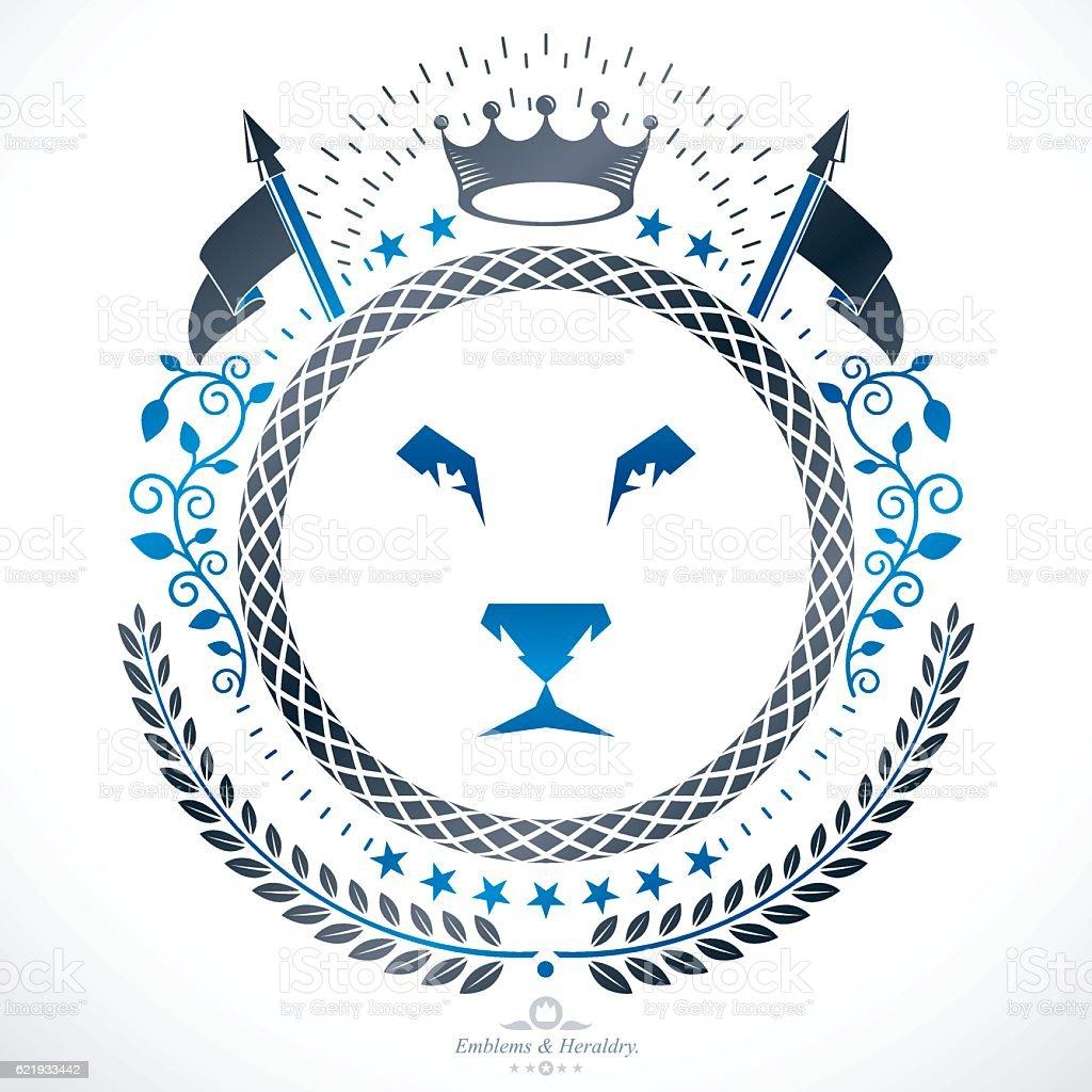 Luxury heraldic vector emblem template. Vector blazon. vector art illustration