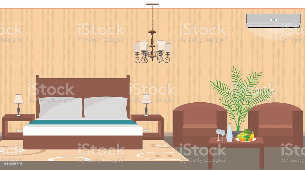 Luxury hotel room interior east style with furniture, air condit vector art illustration
