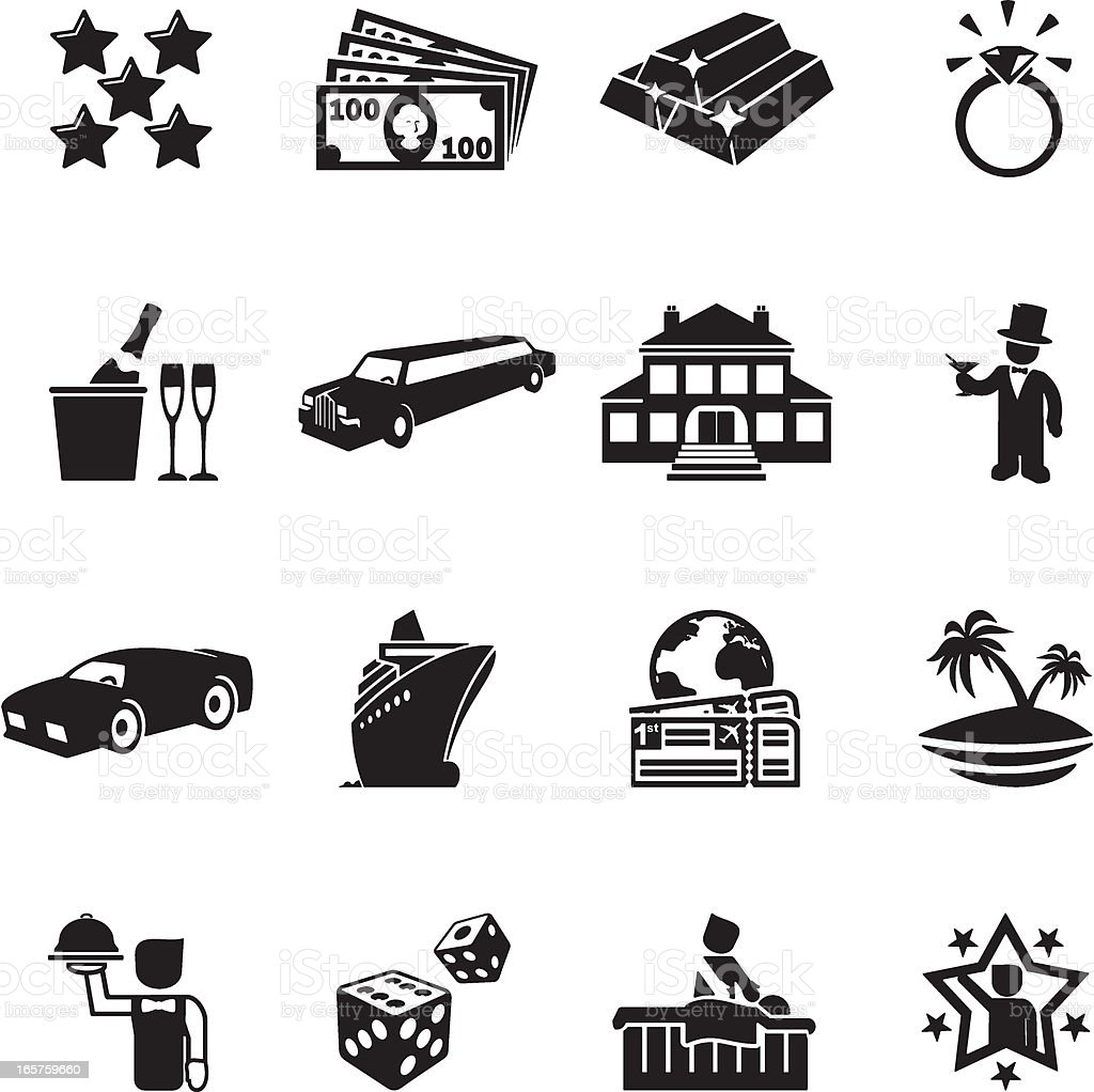 Luxury Life Icons royalty-free stock vector art