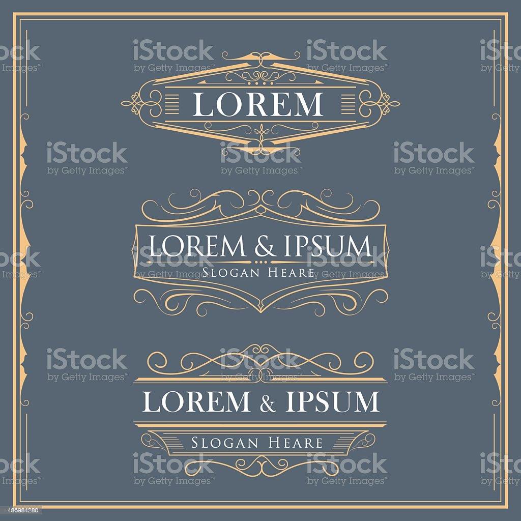 Luxury logos flourishes calligraphy elegant template vector art illustration