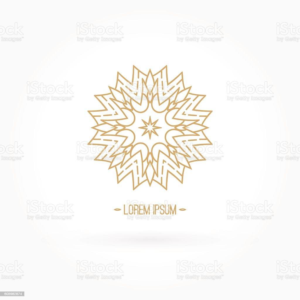 Luxury logotype in the shape of a flower. Gold logo. vector art illustration