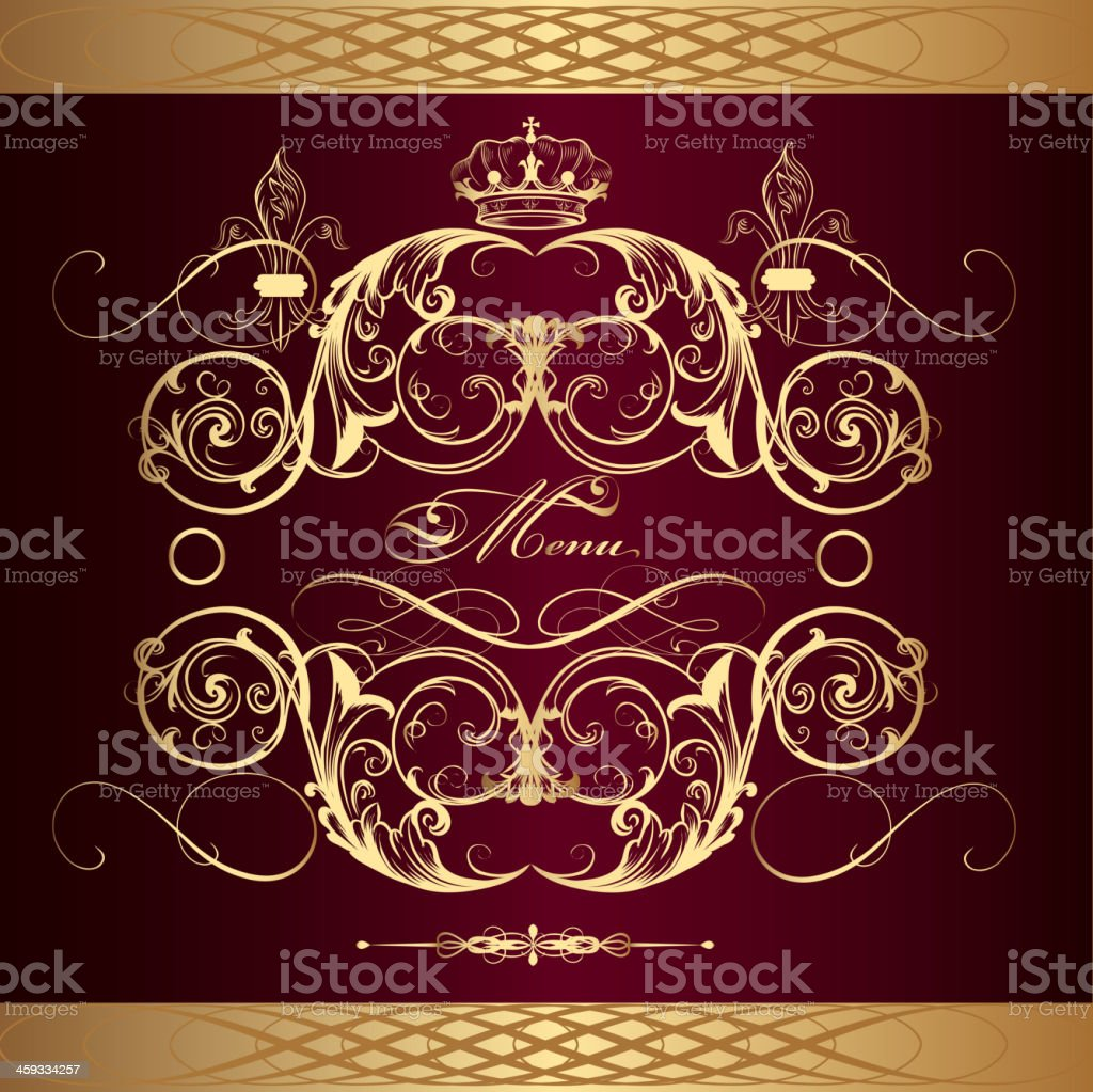 Luxury menu design  in vintage style royalty-free stock vector art