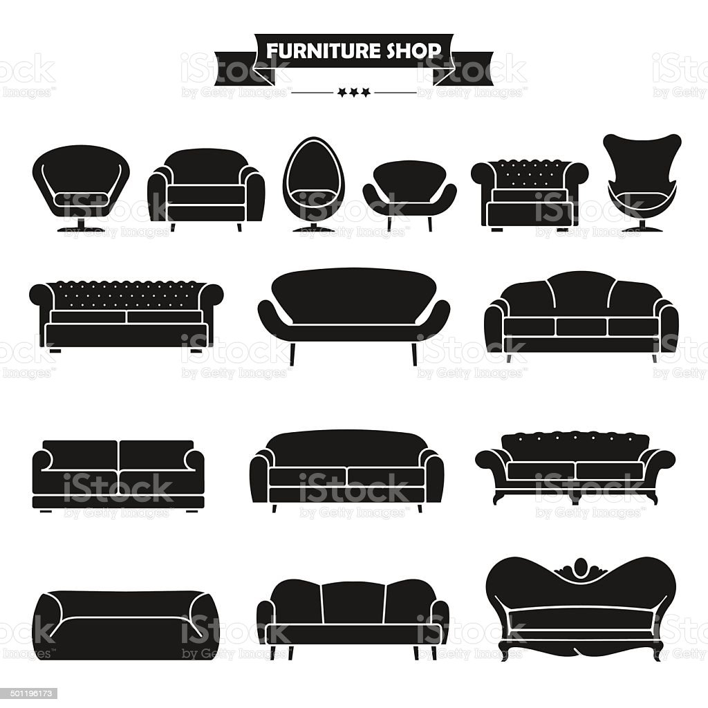 Luxury modern sofa and couch icons set. vector art illustration