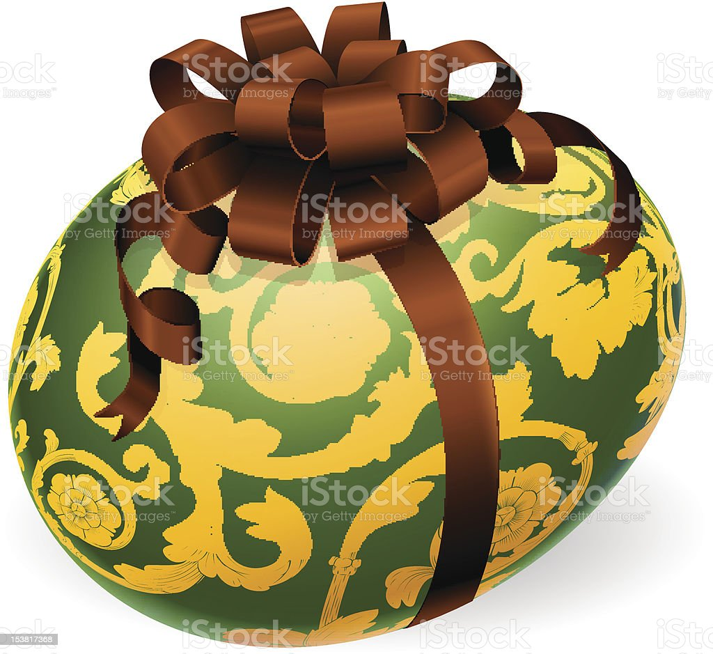 Luxury Ornate Easter Egg With Bow royalty-free stock vector art