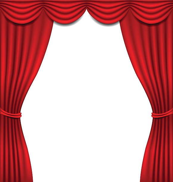 Open Stage Curtains Clip Art, Vector Images
