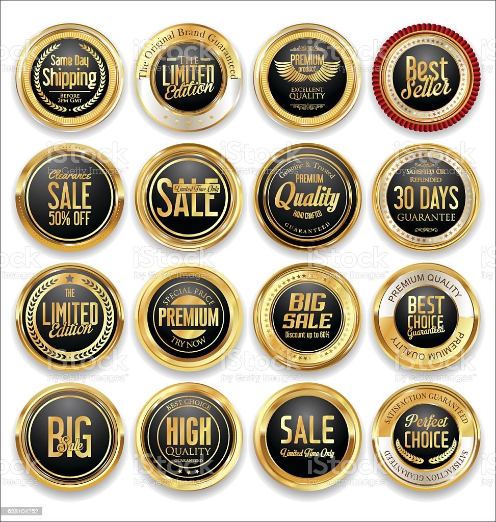 Luxury retro badge and labels collection vector art illustration