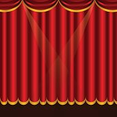 Luxury scarlet red silk velvet curtains and draperies