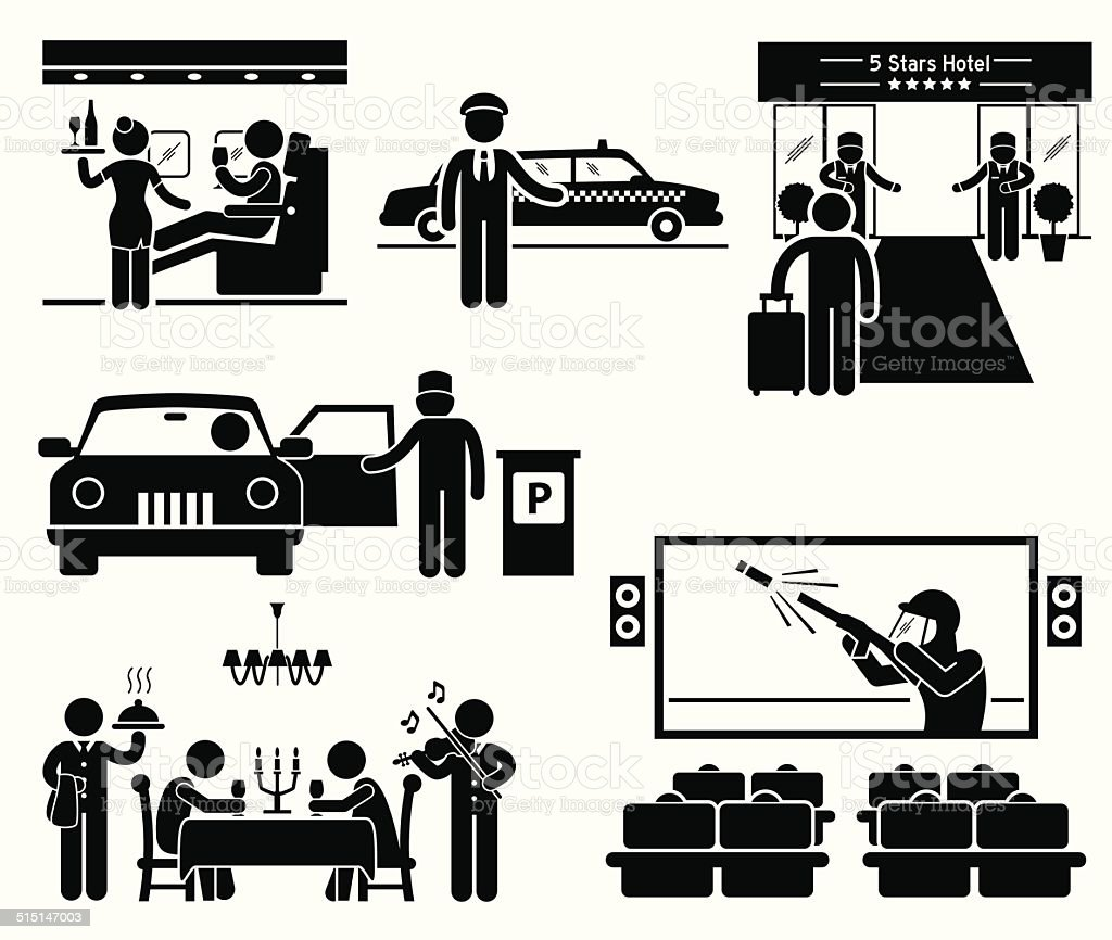 Luxury Services First Class Business VIP Stick Figure Pictogram Icons vector art illustration
