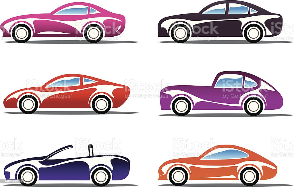 Luxury sport cars silhouettes royalty-free stock vector art