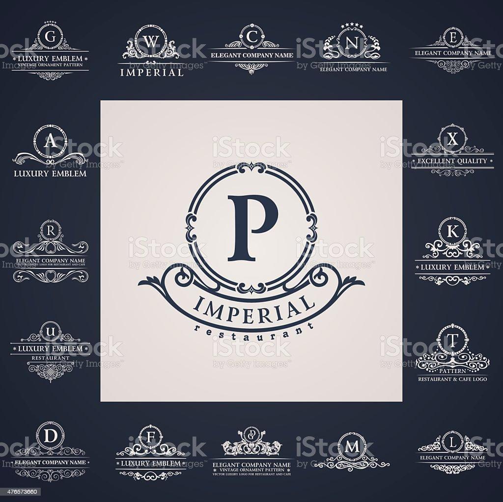 Luxury vintage logos set. Calligraphic letter elements vector art illustration