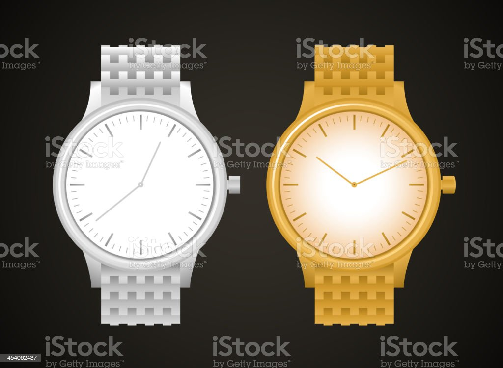 Luxury Watch Gold Silver Watches vector art illustration