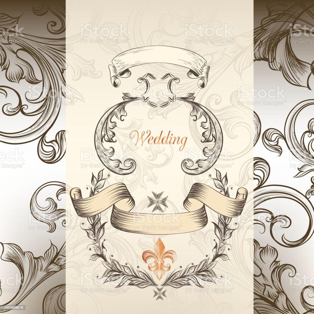 Luxury wedding invitation in Victorian style vector art illustration