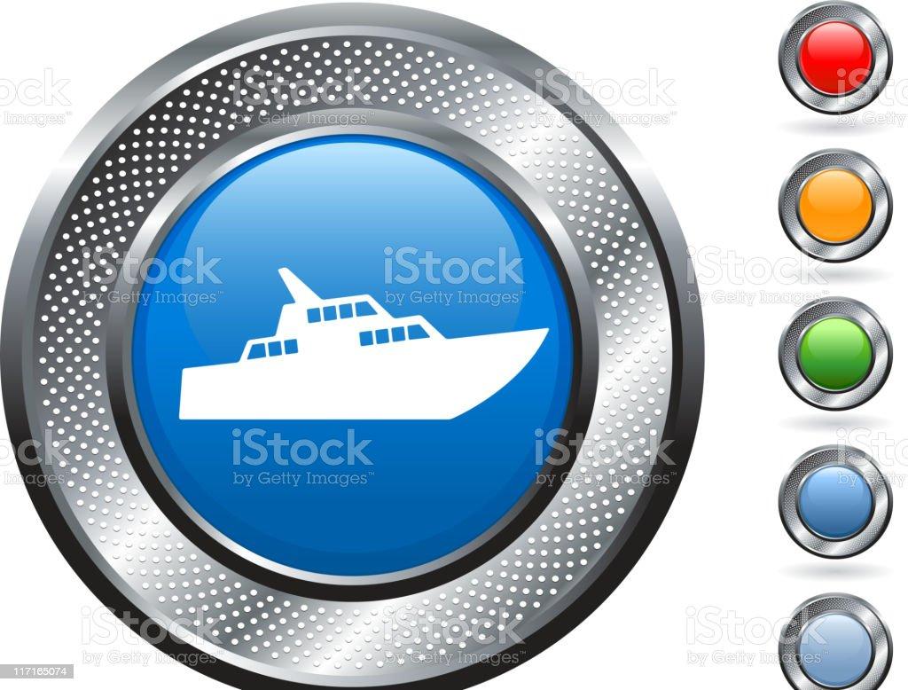 luxury yacht royalty free vector art on metallic button royalty-free stock vector art