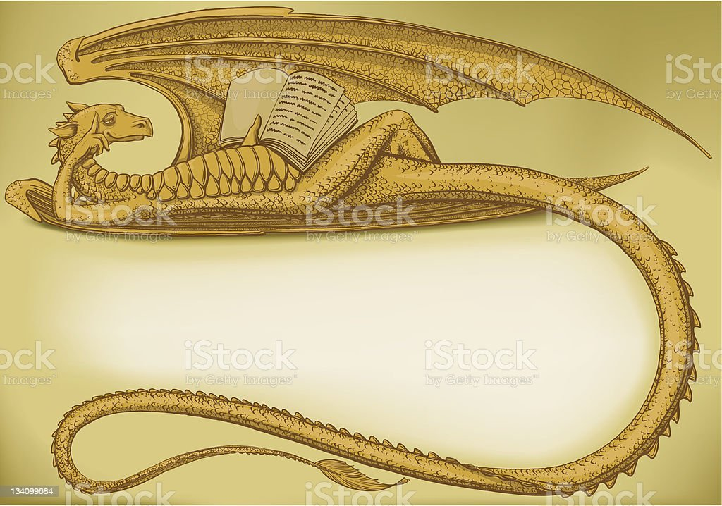 Lying dragon royalty-free stock vector art