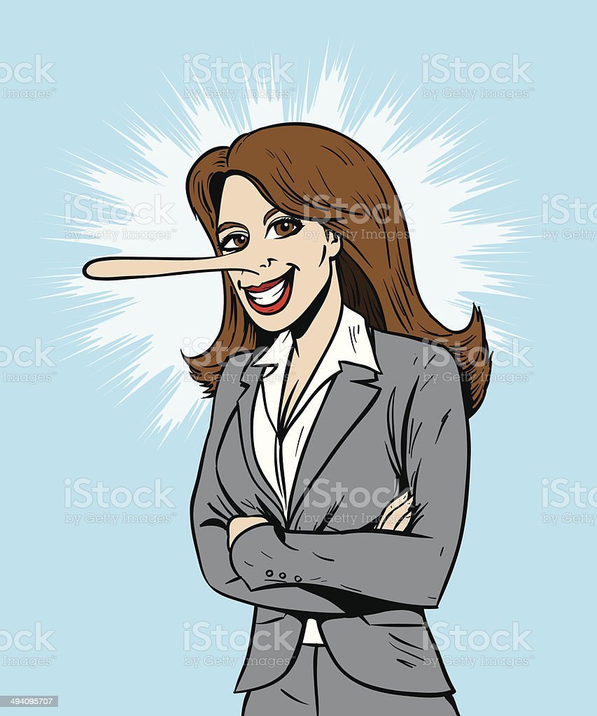 Lying salesperson or business woman vector art illustration