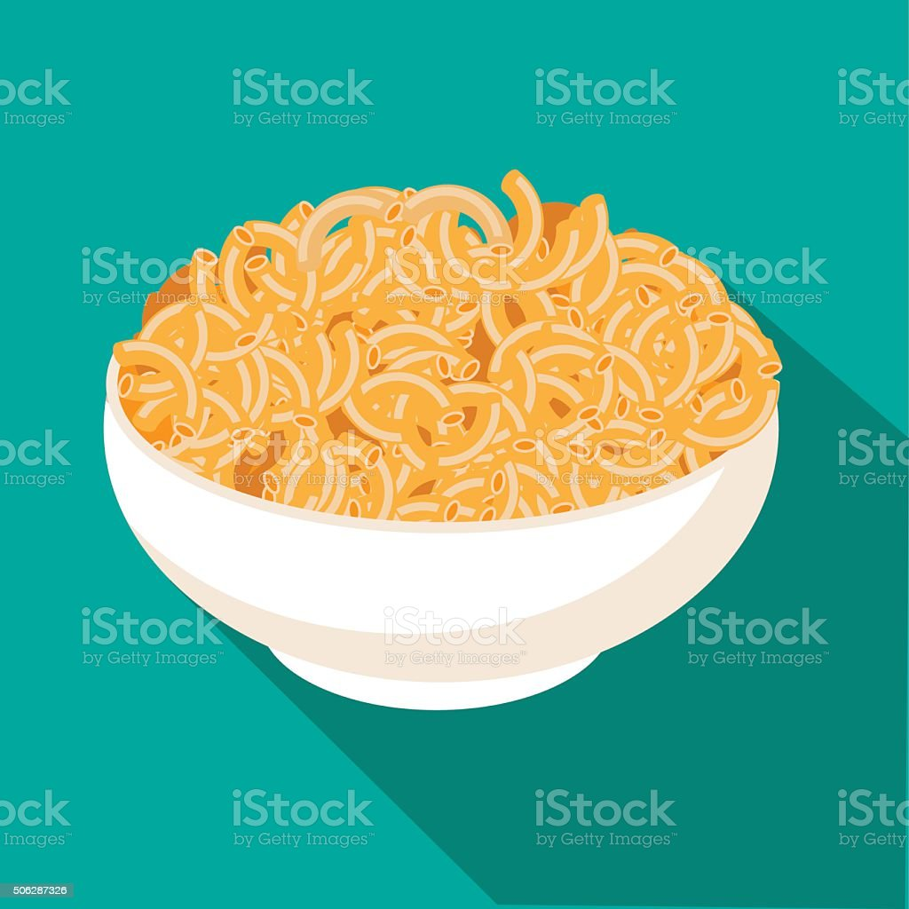 Macaroni and cheese flat design vector art illustration