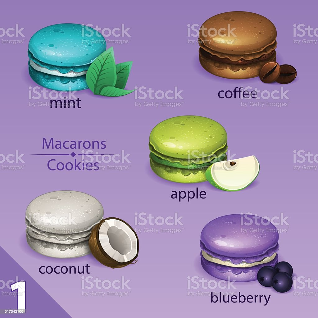 Macarons set with tastes vector art illustration