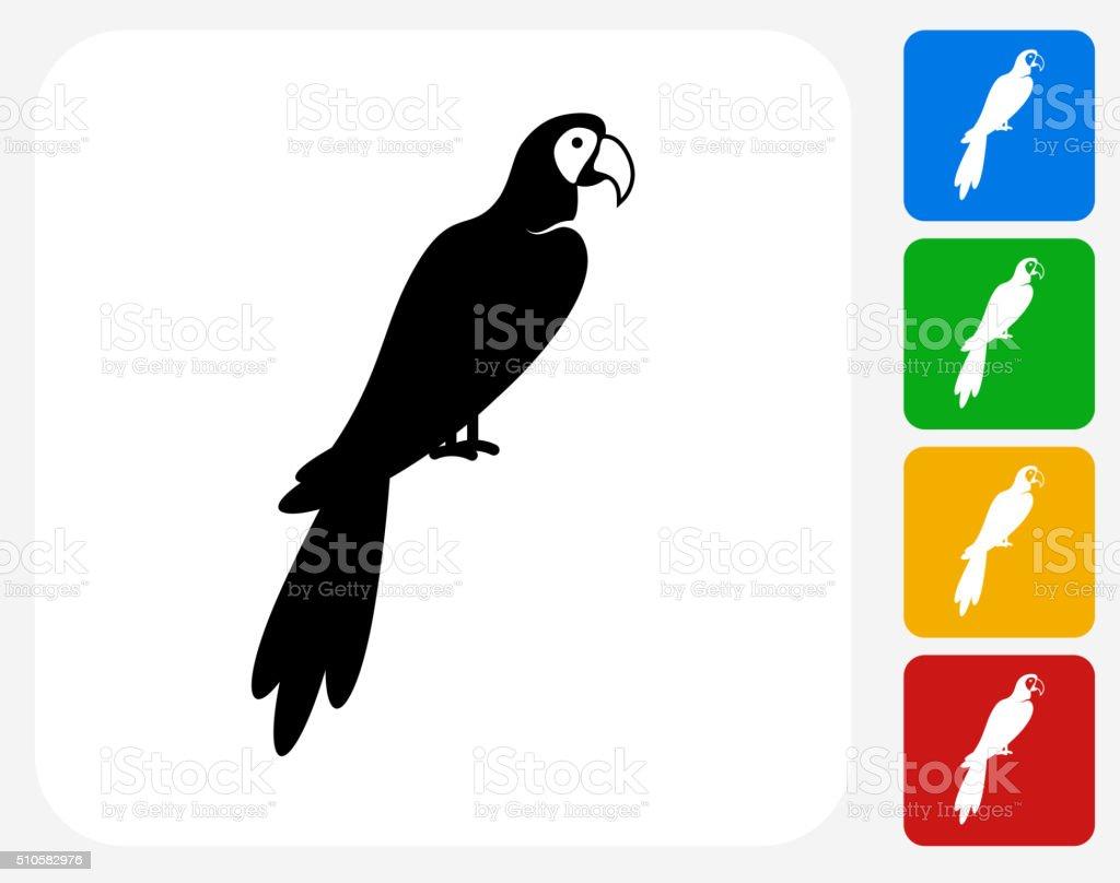 Macaw Bird Icon Flat Graphic Design vector art illustration