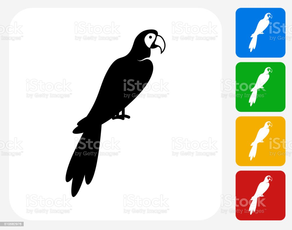 Macaw Bird Icon Flat Graphic Design vector art illustration