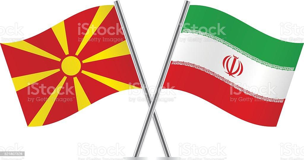 Macedonian and Iranian flags. Vector. vector art illustration