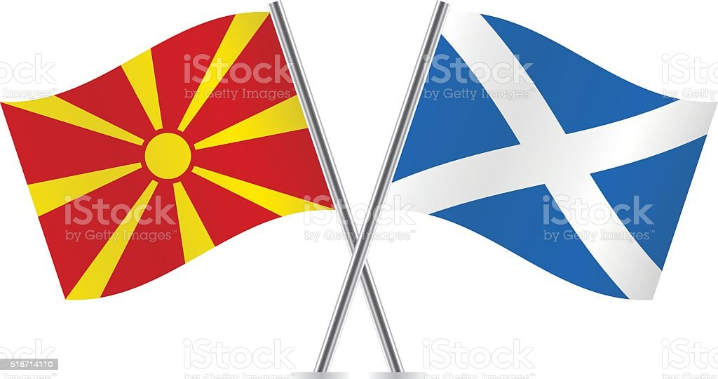 Macedonian and Scottish flags. Vector. vector art illustration