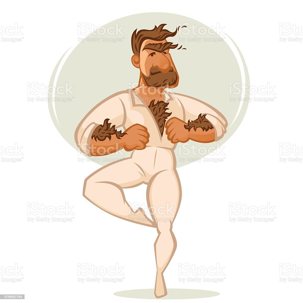 Mach Ballet Danser, Vector Cartoon Man Portrait vector art illustration