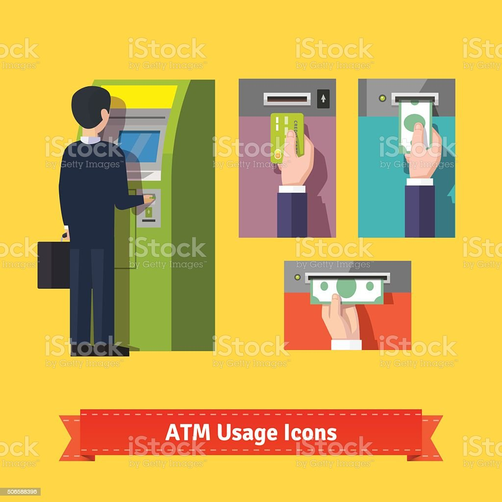 ATM machine deposit vector art illustration