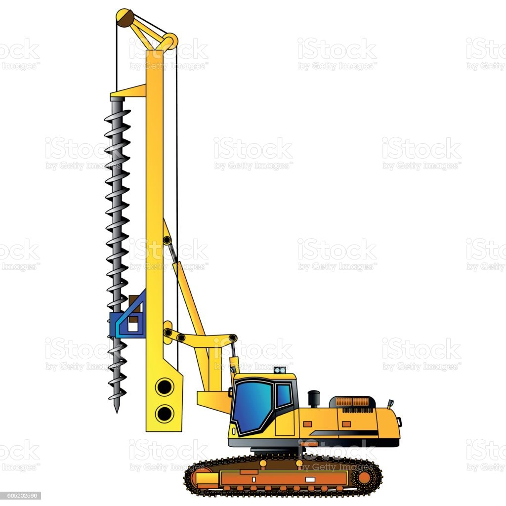 Machine for drilling holes for foundations. Vector vector art illustration