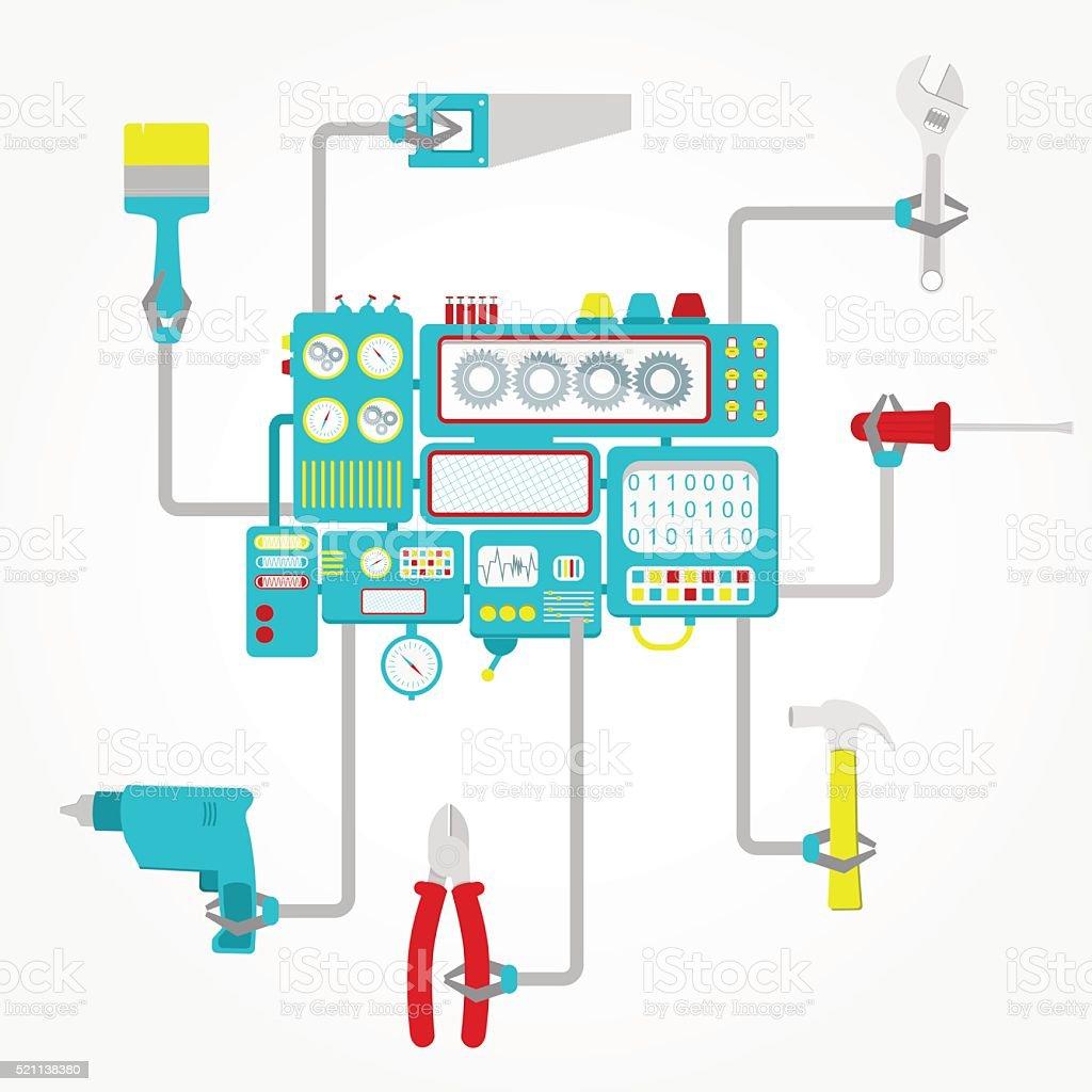 Machine holding tools vector art illustration