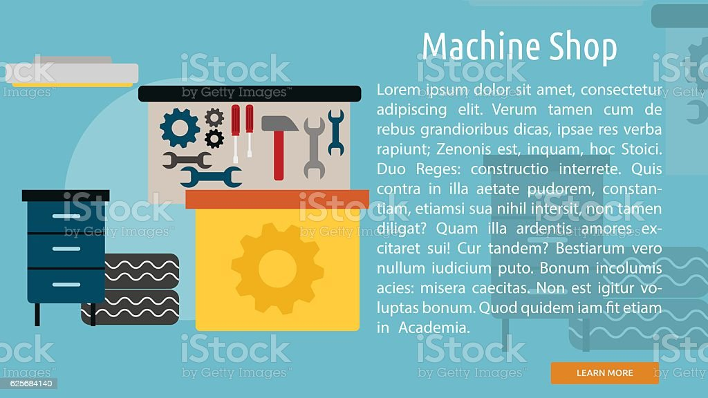 Machine Shop Conceptual Banner vector art illustration