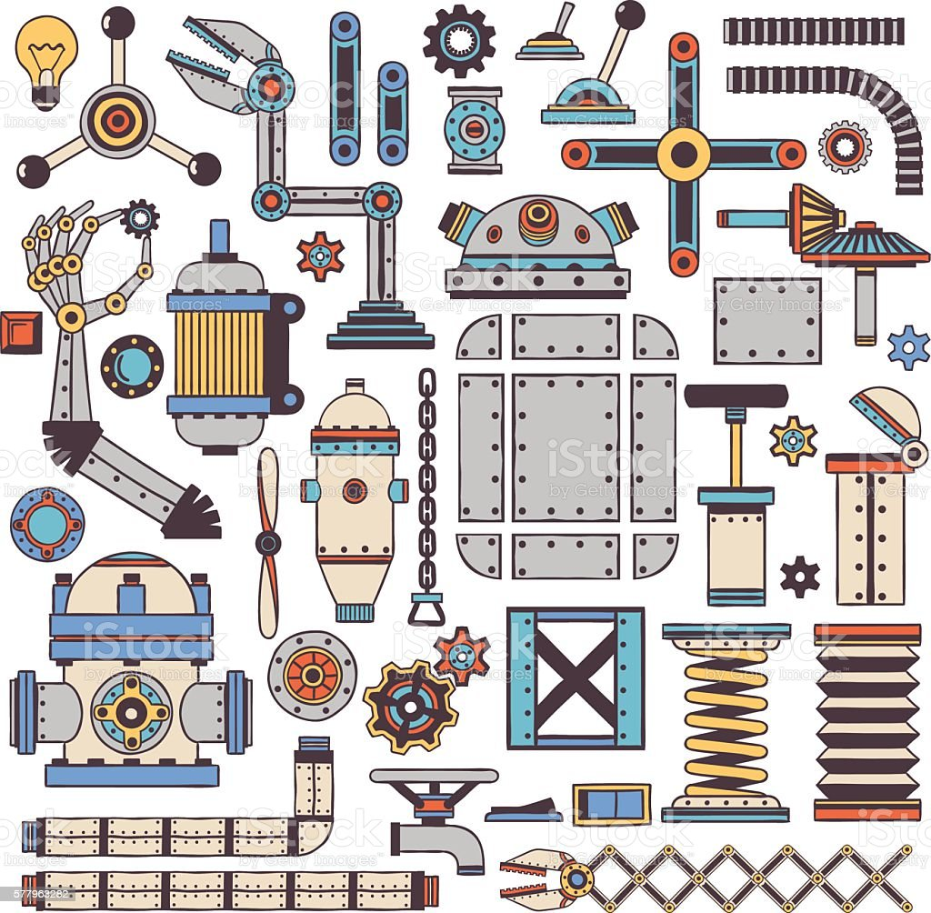 machinery components and spare parts vector art illustration
