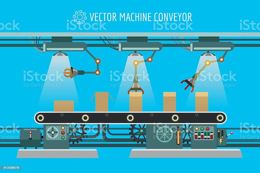 Machinery industrial factory conveyor belt vector art illustration