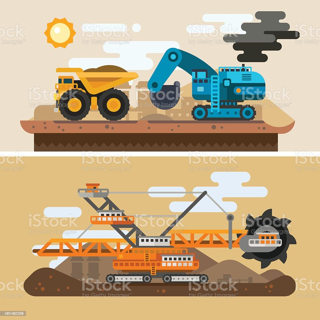 Machines for digging caves vector art illustration