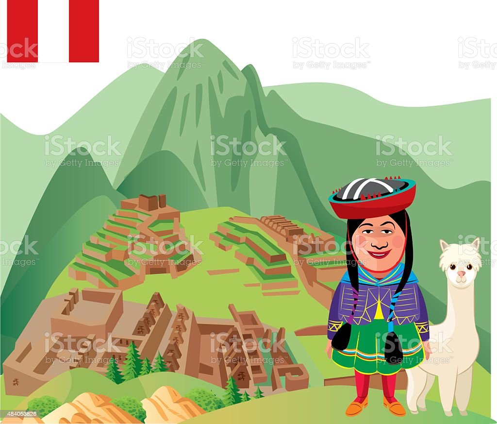 Machu Picchu vector art illustration