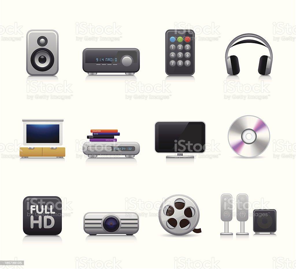 Maco Icon Set | Home Cinema vector art illustration