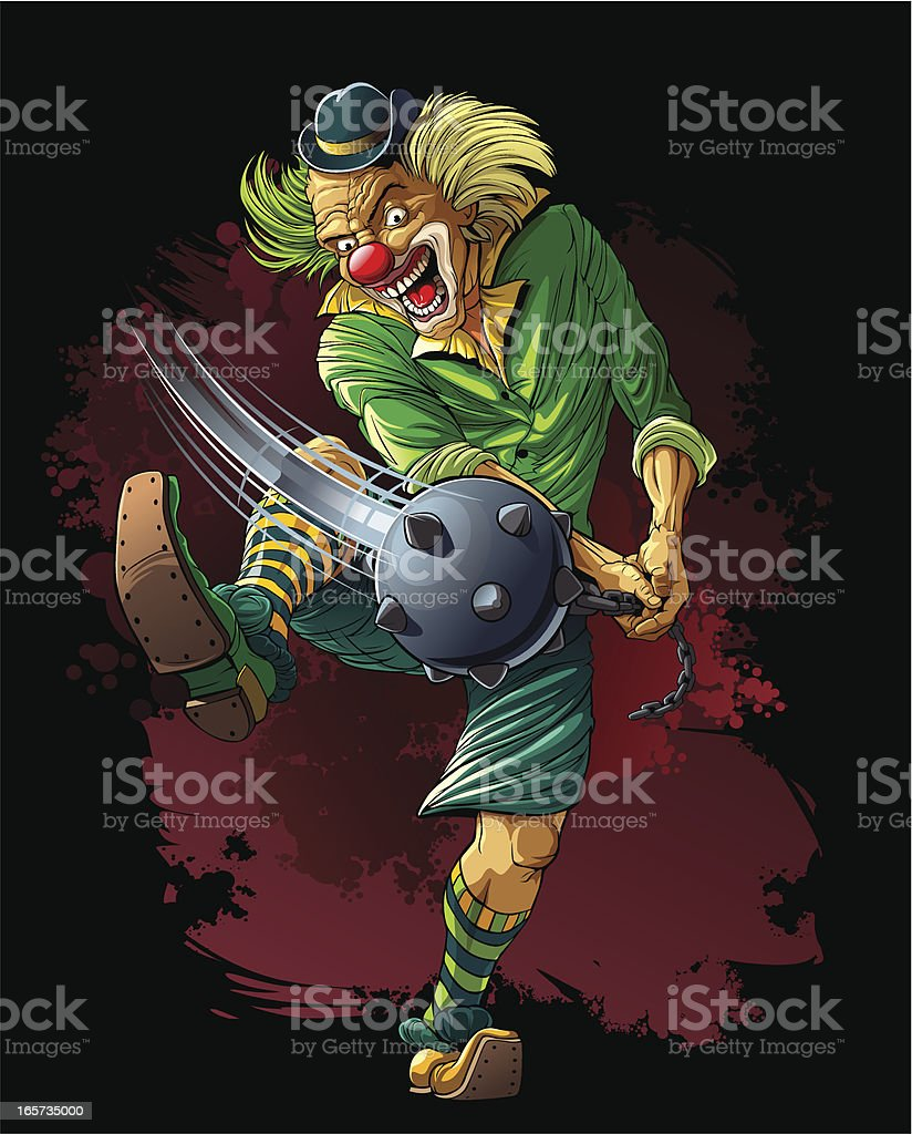 Mad clown killer with cudgel royalty-free stock vector art