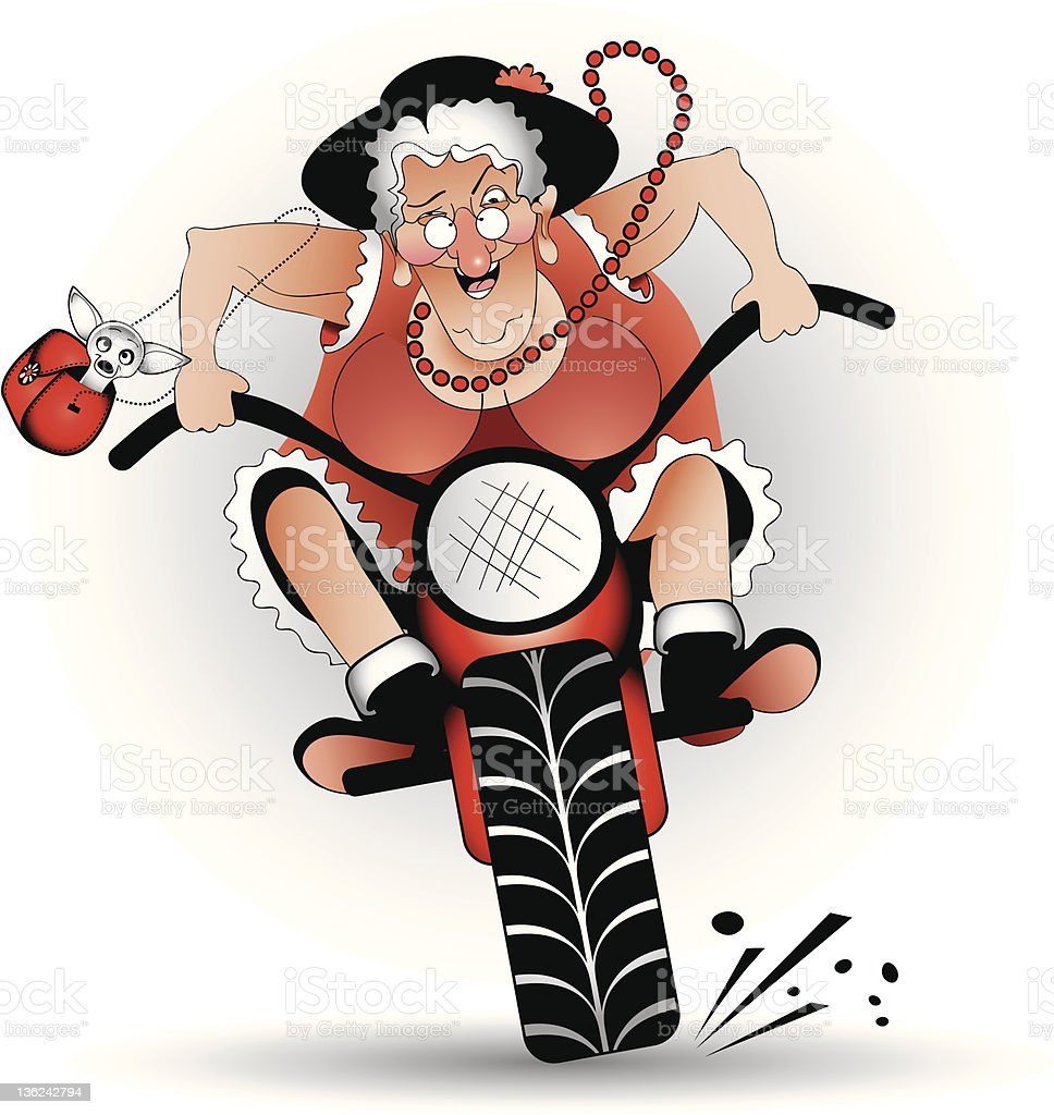 mad grandma on bike stock photo