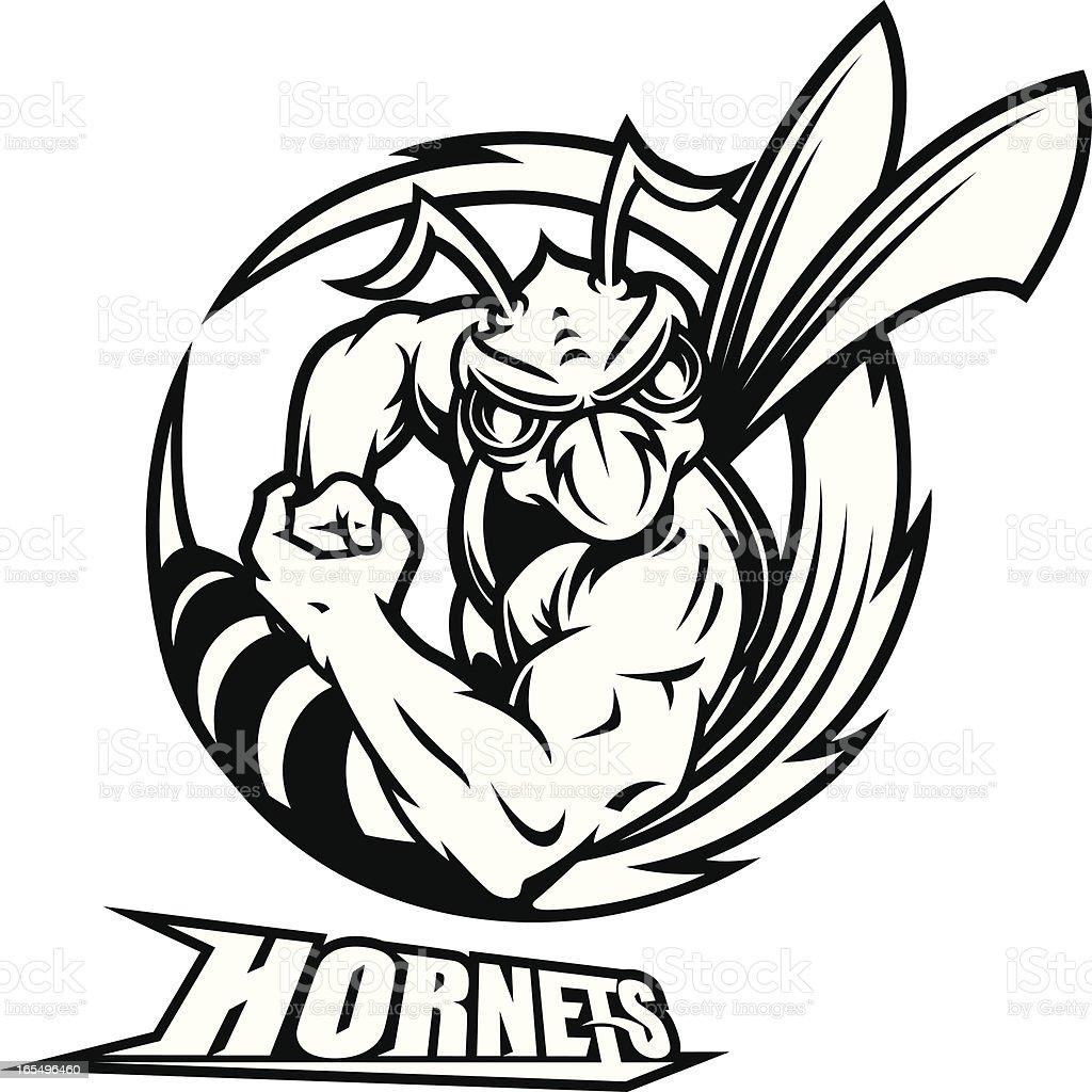 Mad Hornet Buzzsaw B&W vector art illustration